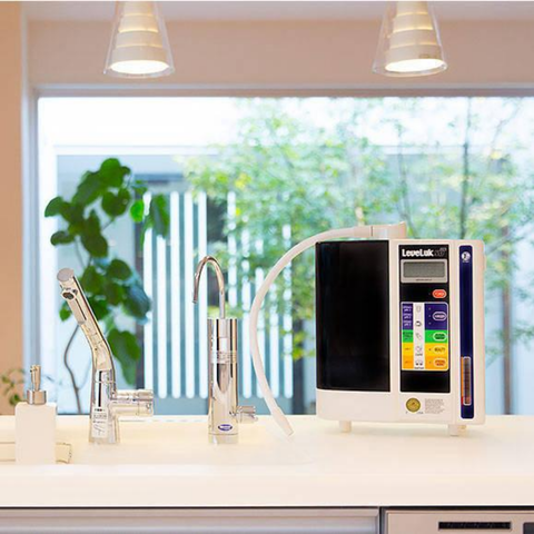Kangen Leveluk SD501 Alkaline Water Ionizer Machine on countertop