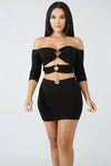 THREE RING CHAIN MINI DRESS - BLACK