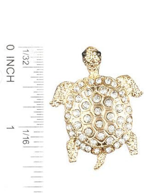 Pave Crystal Stone Metal Turtle Pin And Brooch