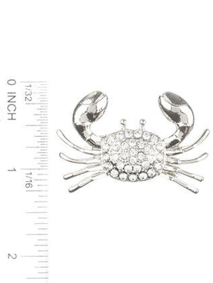 Pave Crystal Stone Metal Crab Pin And Brooch