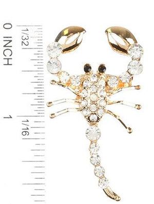 Pave Crystal Stone Metal Scorpion Pin And Brooch