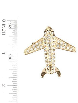 Pave Crystal Stone Metal Airplane Pin And Brooch