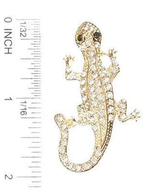 Pave Crystal Stone Metal Lizard Pin And Brooch