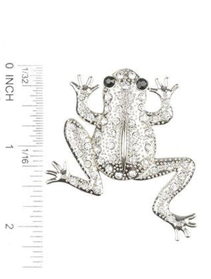 Pave Crystal Stone Metal Frog Pin And Brooch