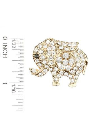 Pave Crystal Stone Metal Elephant Pin And Brooch