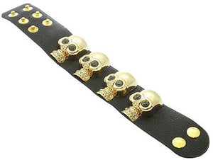 SKULL CLIP LEATHER BRACELET