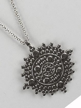 Textured Medallion Pendant Long Chain Necklace