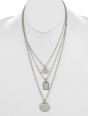 Geometric Frame Charm Three Layered Chain Necklace