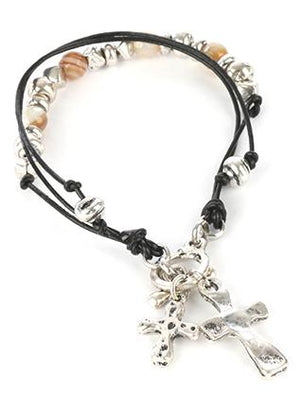 Aged Finish Cross Charm Bracelet