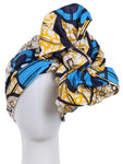 WOMEN AFRICAN DASHIKI PRINT TRIBAL HEAD SCARF WRAP - BLUE