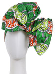 WOMEN AFRICAN DASHIKI PRINT TRIBAL HEAD SCARF WRAP - GREEN