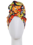 AFRICAN PRINCESS HEAD WRAP SCARF COLORFUL KENTE PRINT