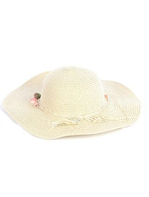 Flower Ribbon Trim Floppy Straw Hat And Cap