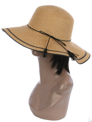 Faux Suede Trim Floppy Straw Hat And Cap