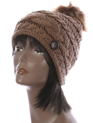 Faux Fur Pom Pom Cable Knit Winter Beanie Hat And Cap