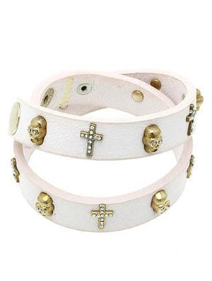 SKULL & CROSS LEATHER WRAP AROUND BRACELET