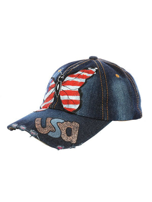 Usa Butterfly Distressed Denim Hat And Cap