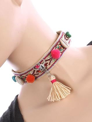Tribal Pattern Embroidererd Fabric Choker Necklace