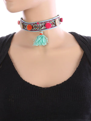 DAY OF THE DEAD SKULL POM POM CHOKER