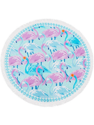 Flamingo Print Round Beach Towel Mat General Merchandise