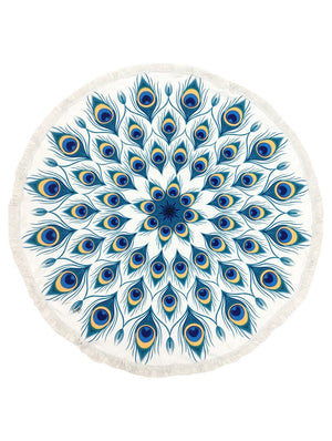 Peacock Feather Pattern Round Beach Towel Mat General Merchandise
