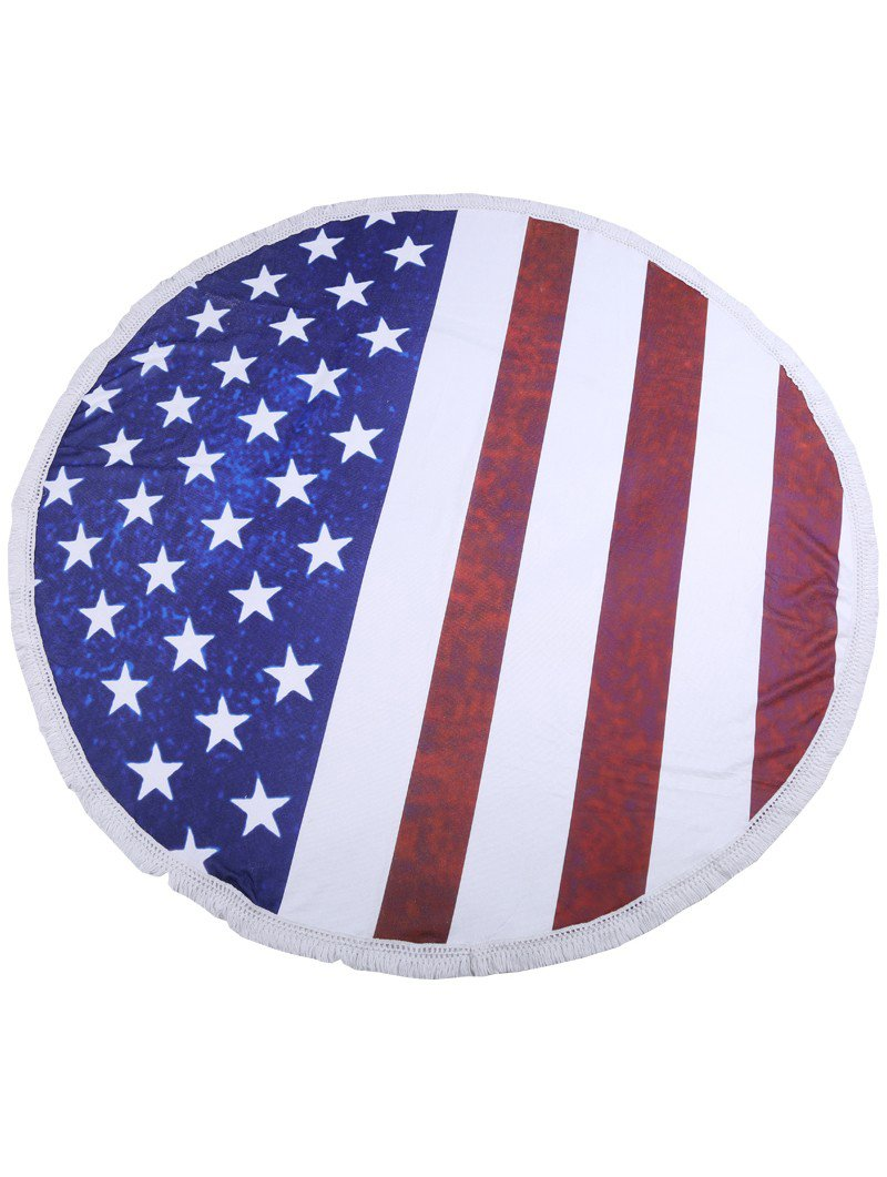 Stars And Stripes Print Round Beach Towel Mat