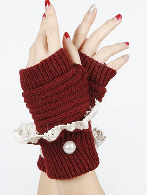 Laced Fold Over Hand Wrist Warmer
