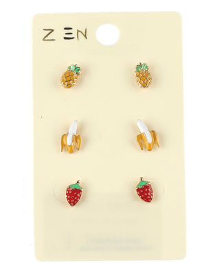 3 Pair Fruit Stud Earrings