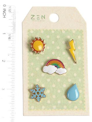 5 Pc Weather Pin And Brooch