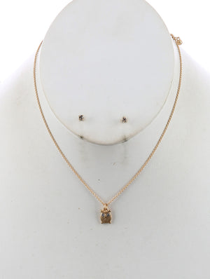 Matte Owl Charm Chain Necklace And Earring Set - Gold