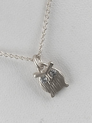 Matte Owl Charm Chain Necklace And Earring Set - Silver