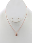 Matte Owl Charm Chain Necklace And Earring Set - Bronze
