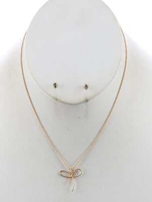 Matte Bow Charm Chain Necklace And Earring Set - Gold