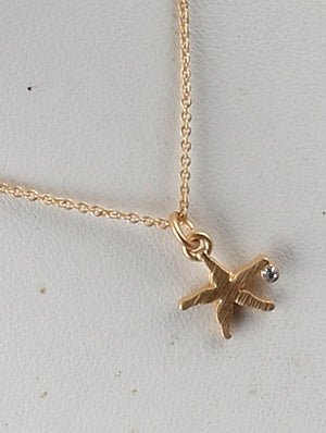 Matte Starfish Charm Chain Necklace And Earring Set - Gold