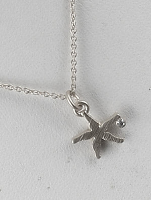 Matte Starfish Charm Chain Necklace And Earring Set - Silver