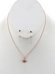 Matte Starfish Charm Chain Necklace And Earring Set - Bronze