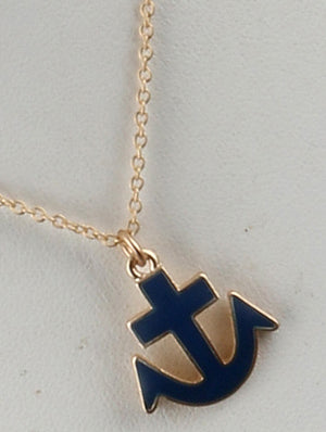 Anchor Charm Chain Necklace And Earring Set - Navy Blue
