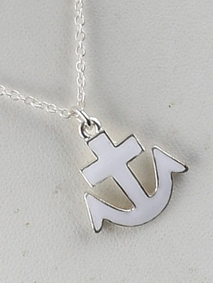 Anchor Charm Chain Necklace And Earring Set - White