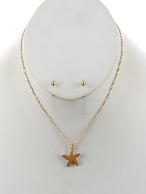 Starfish Charm Chain Necklace And Earring Set - Beige