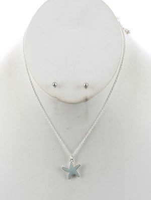 Starfish Charm Chain Necklace And Earring Set - Blue