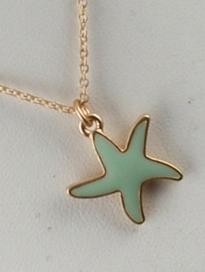 Starfish Charm Chain Necklace And Earring Set - Mint