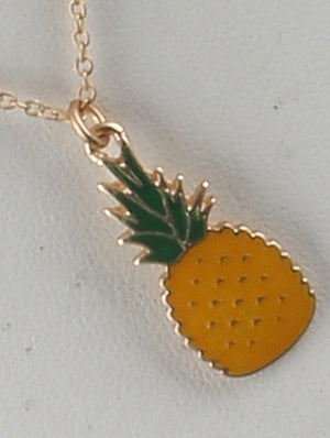 Pineapple Charm Chain Necklace And Earring Set