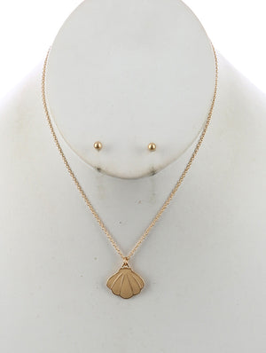 Seashell Charm Chain Necklace And Earring Set - Ivory