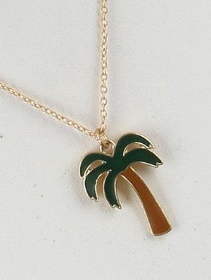 Palm Tree Charm Chain Necklace Set
