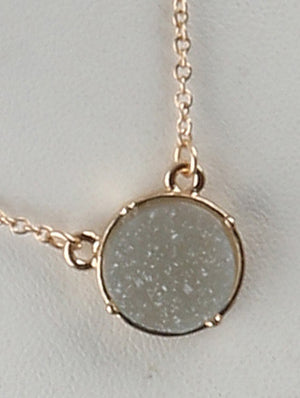 Circle Druzy Shimmer Charm Necklace And Earring Set - Gray