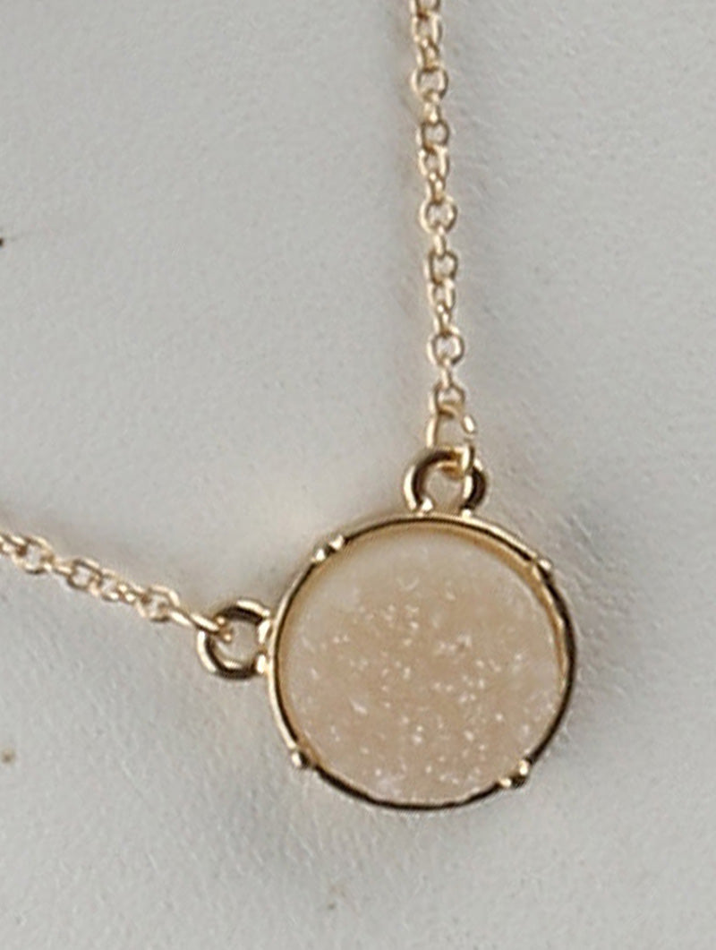 Circle Druzy Shimmer Charm Necklace And Earring Set - Ivory