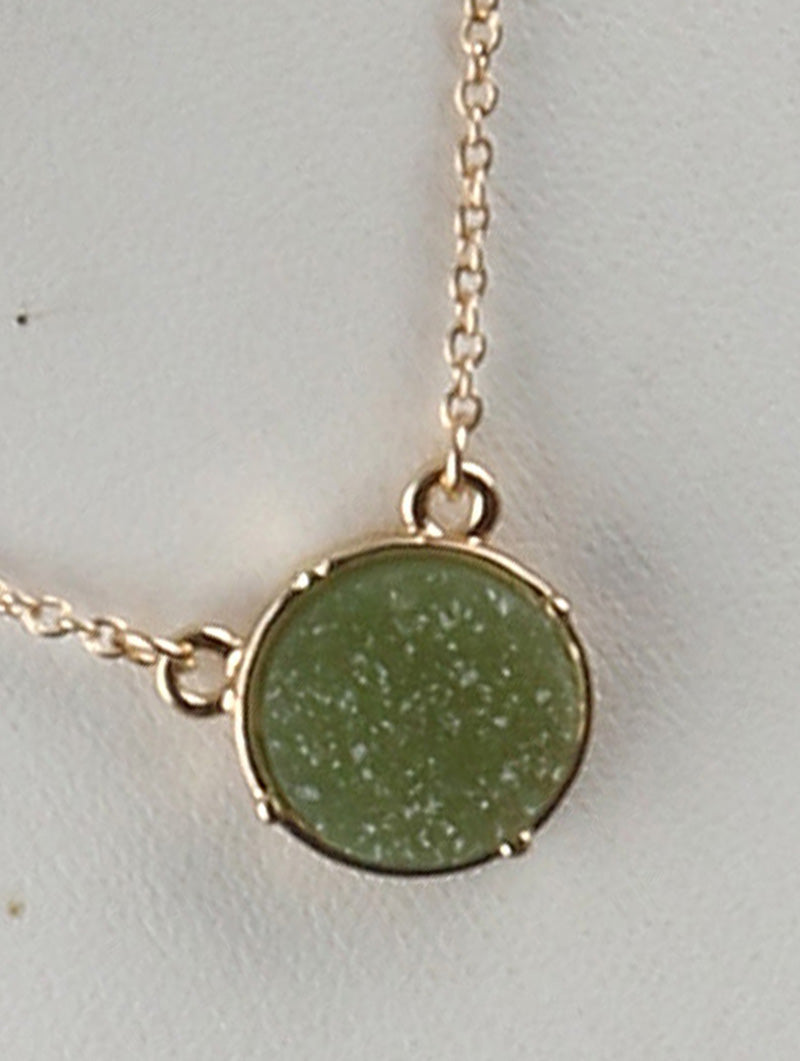 Circle Druzy Shimmer Charm Necklace And Earring Set - Olive Green
