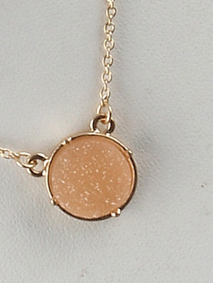 Circle Druzy Shimmer Charm Necklace And Earring Set - Peach