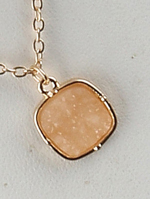 Druzy Shimmer Charm Necklace And Earring Set - Ivory
