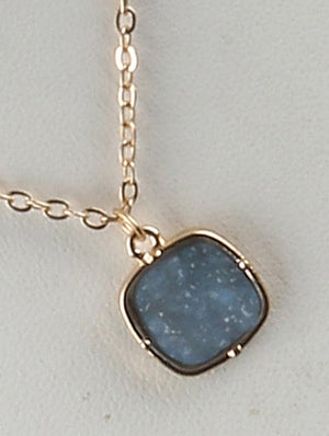 Druzy Shimmer Charm Necklace And Earring Set - Blue
